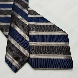 100% Silk JOS A BANK Blue/Brown Striped Tie ~3.25""